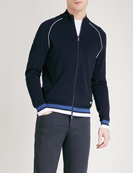 Emporio Armani Striped Trim Knitted Cardigan Navy