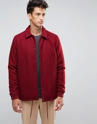Asos Wool Mix Coach Jacket In Burgundy Burgundy Red