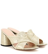 Marc Jacobs Aurora Mule Leather Sandals Gold