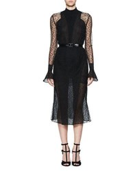 Olivier Theyskens Tentel Long Sleeve Sheer Lace Midi Dress Black
