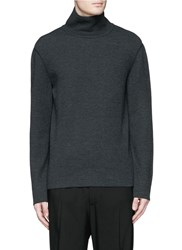 Lanvin Double Faced Wool Cotton Turtleneck Sweater Blue