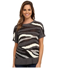 Dkny Intarsia Stripe Shine Crop Pullover Charcoal Women's Clothing Gray