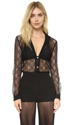 Versus Lace Button Down Top Black