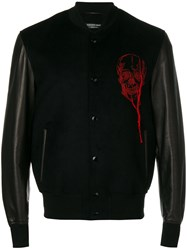 Alexander Mcqueen Embroidered Varsity Jacket Viscose Cotton Lamb Skin Blue