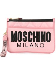 Moschino Quilted Logo Clutch Pink