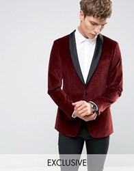 Number Eight Savile Row Velvet Tuxedo Jacket With Satin Lapel Burgundy Red