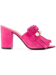 Via Roma 15 Fringed Mule Sandals Pink And Purple