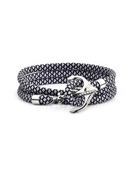 Forzieri Men's Bracelets Black And White Rope Triple Bracelet W Anchor