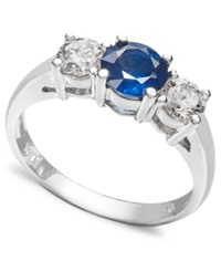 Macy's 14K White Gold Ring Sapphire 1 Ct. T.W. And Diamond 5 8 Ct. T.W. Three Stone Ring Blue
