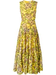 Red Valentino Floral Print Gathered Dress Women Silk Cotton 40 Yellow Orange