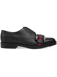 Gucci Leather Brogue Shoe With Web Black