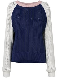 Michel Klein Colour Block Knit Jumper Blue