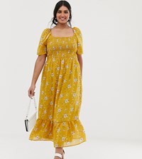 Lovedrobe Puff Sleeve Midi Dress With Shirred Bodice And Fluted Hem In Ditsy Yellow Floral