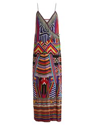 Camilla Tsachila Blessing Print Silk Wrap Dress Purple Multi