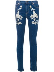 Gucci Embroidered Skinny Jeans Cotton Polyester Spandex Elastane Blue