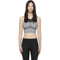 Adidas By Stella Mccartney Grey And Black Run Crop Bra
