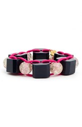 Women's Trina Turk Bead Stretch Bracelet Pink Gold