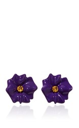 Sabbadini Flower Collection Round Cut Citrine Earrings In Purple