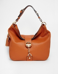 Dune Dobbly Slouch Hobo With Chain And Tassel Detail Cognac
