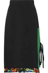 Msgm Layered Printed Crepe Skirt Black