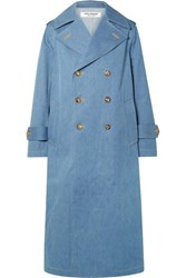 Junya Watanabe Double Breasted Denim Trench Coat Blue