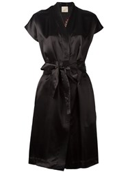 Laneus V Neck Wrap Dress Black