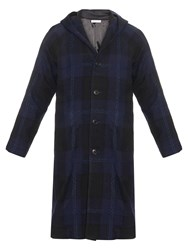 Blue Blue Japan Rope Stitch Checked Wool Blend Coat