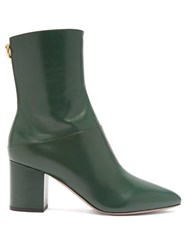 Valentino Ringstud Leather Ankle Boots Dark Green