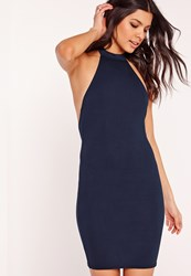 Missguided High Neck Halter Bodycon Dress Navy Blue