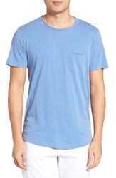Velvet By Graham And Spencer Men's Raw Edge Pocket T Shirt Chambray