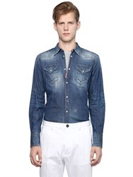 Dsquared2 Stretch Cotton Denim Western Shirt