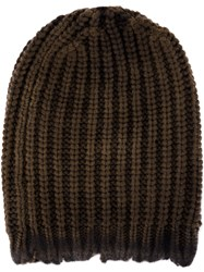 Avant Toi Cable Knit Beanie Hat Green
