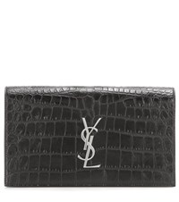Saint Laurent Classic Monogramme Embossed Leather Clutch Black