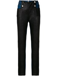Each X Other Leather Panelled Jeans Blue