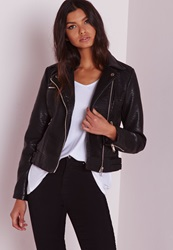 Missguided Faux Leather Bubble Biker Jacket Black Black
