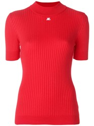 Courreges Ribbed Knitted Top Cotton Cashmere Red