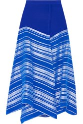 Zeus Dione Balos Embroidered Silk Jacquard Maxi Skirt Bright Blue
