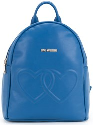 Love Moschino Double Heart Backpack Women Polyurethane One Size Blue