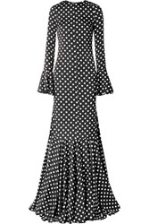 Caroline Constas Allonia Fluted Polka Dot Silk Blend Satin Gown Black