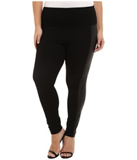 Lysse Plus Size Ponte Legging W Vegan Side Panel 15040 Black Women's Casual Pants