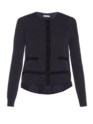 Moncler Long Sleeved Jersey Knit Cardigan Navy