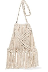 Nannacay Lucy Fringed Crocheted Cotton Shoulder Bag Cream
