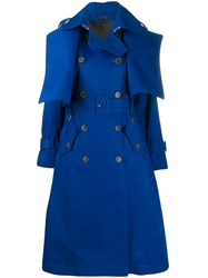 Eudon Choi Double Breasted Trench Coat Blue