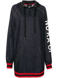 No Ka' Oi Printed Stripe Trim Zip Hoodie Dress Blue