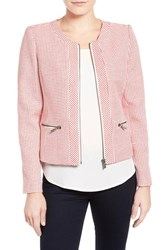 Women's Halogen Zip Front Collarless Jacket Red Frame Tweed