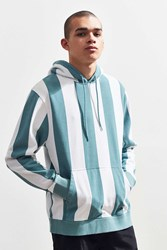 Urban Outfitters Uo Awning Stripe Hoodie Sweatshirt Turquoise