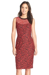 Maggy London 'Fern' Embellished Lace Sheath Dress Red Black