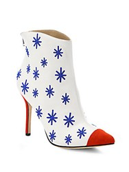 Isa Tapia Madrid Embroidered Leather Ankle Boots Stars White