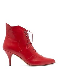 Tabitha Simmons Zora Leather Lace Up Boots Red