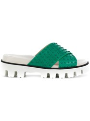 Red Valentino Cross Front Slides Green